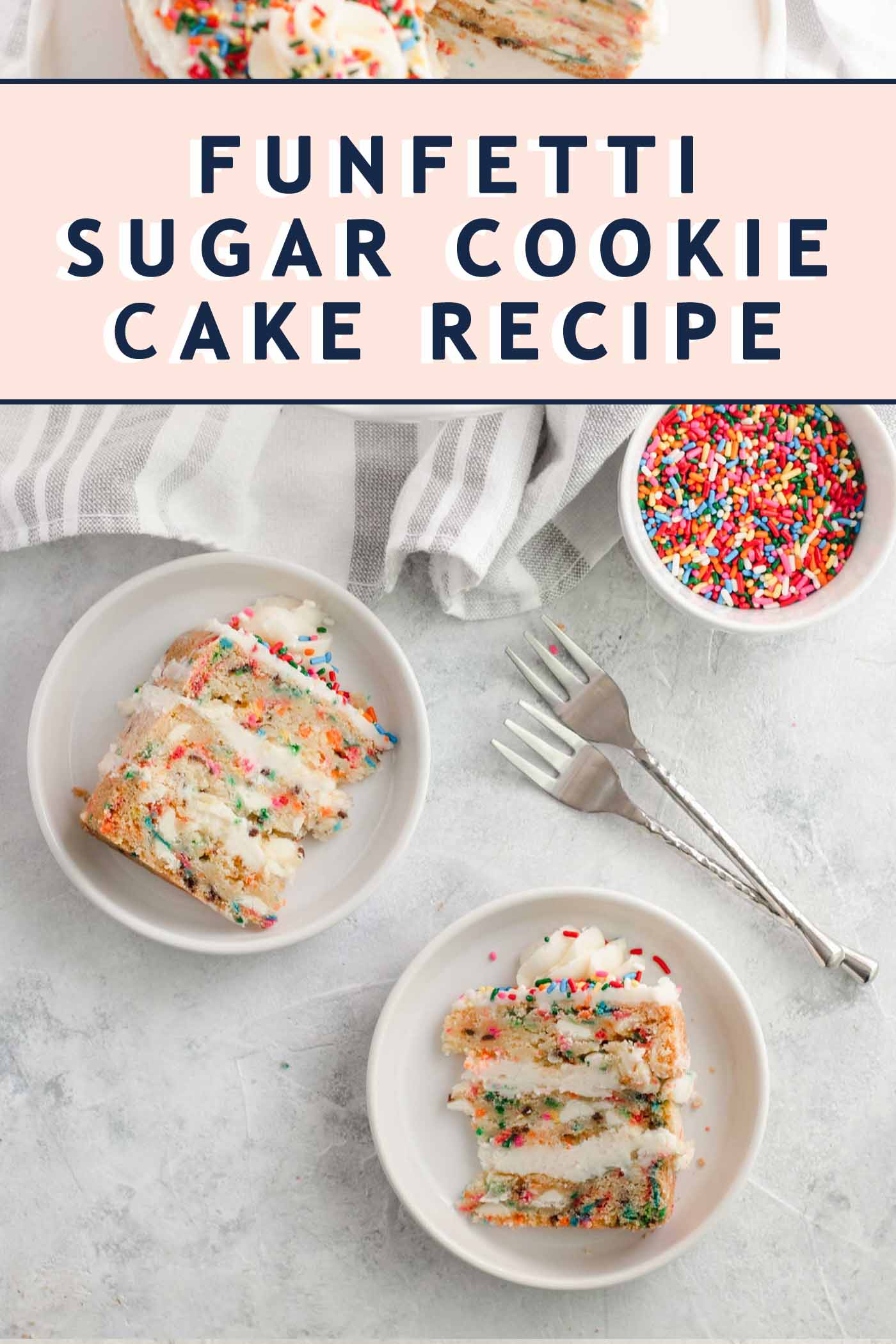 photo of Funfetti Sugar Cookie Cake slices by top Houston lifestyle blogger Ashley Rose of Sugar & Cloth