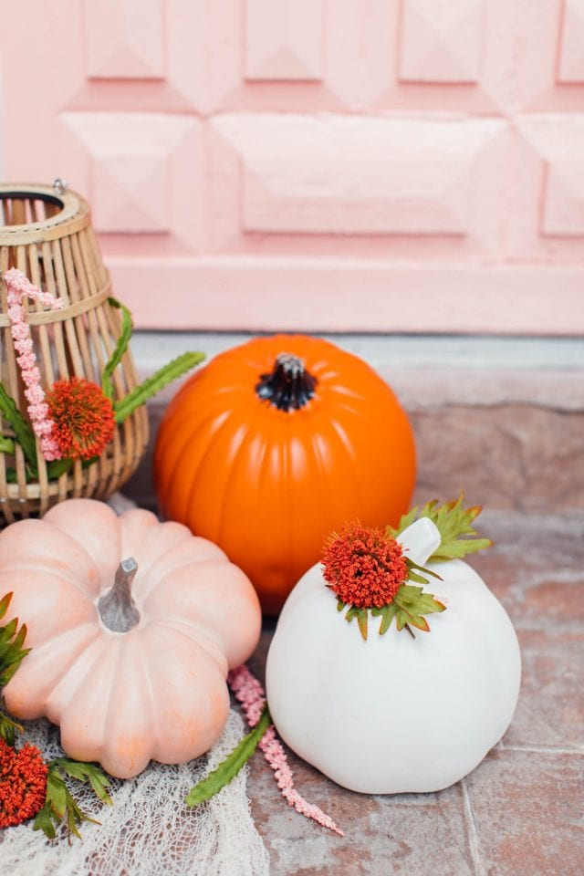 photo of peach orange and blush pink colorful pumpkins