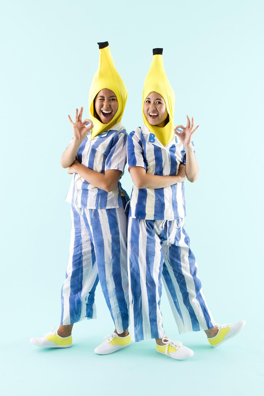 Two women in DIY Couples costume: Bananas in Pyjamas