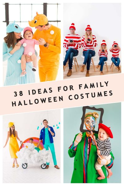 a photo collage of 4 family costume ideas