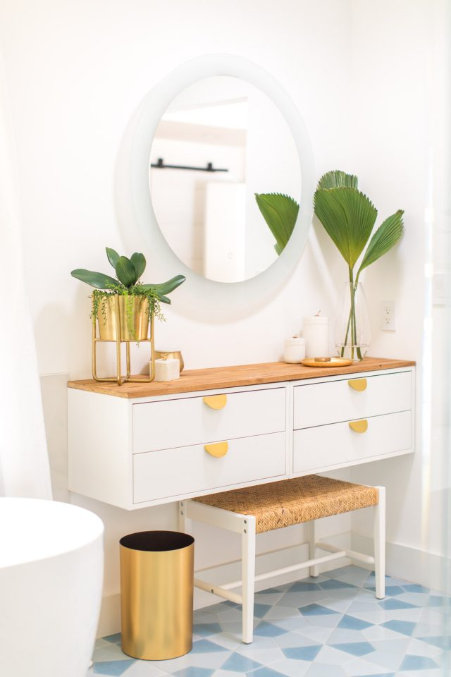photos of a DIY bathroom vanity
