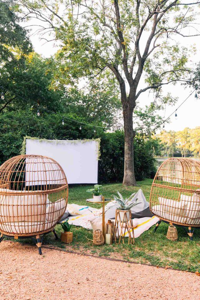 photo of a movie night setup in backyard