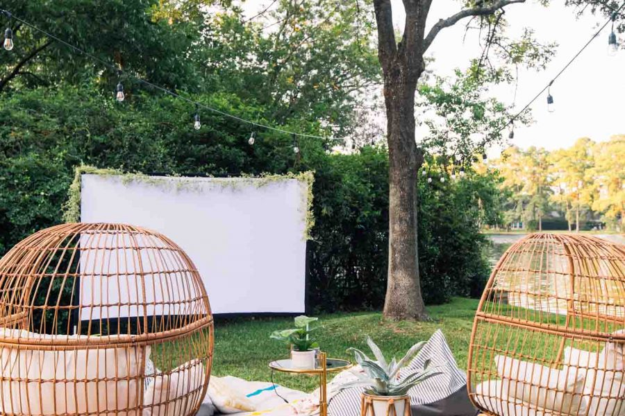 photo of a movie night setup in backyard