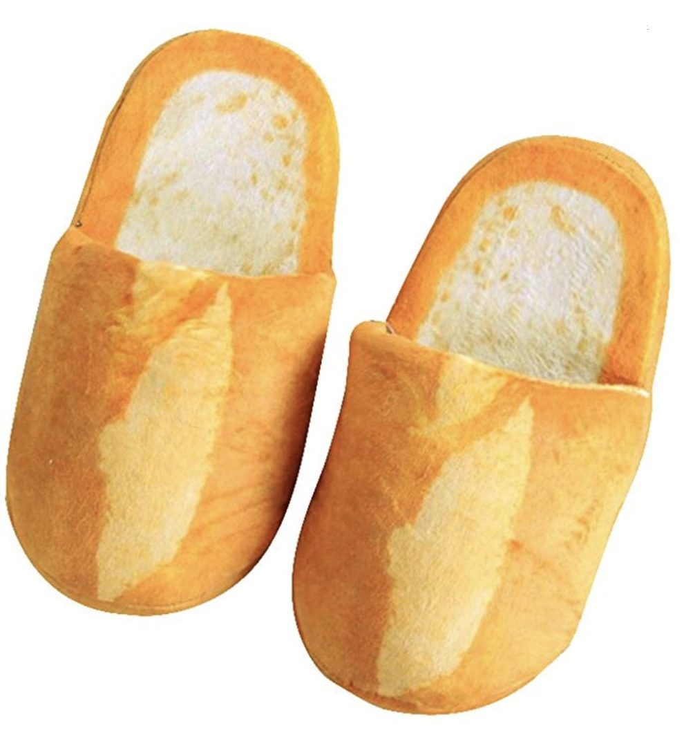 photo of two baguette shaped slippers