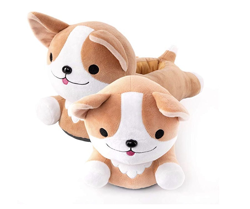 photo of two plush puppy shaped slippers