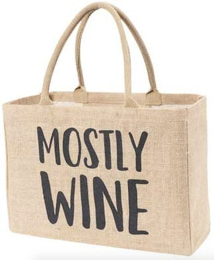 photo of tote that says 'mostly wine'