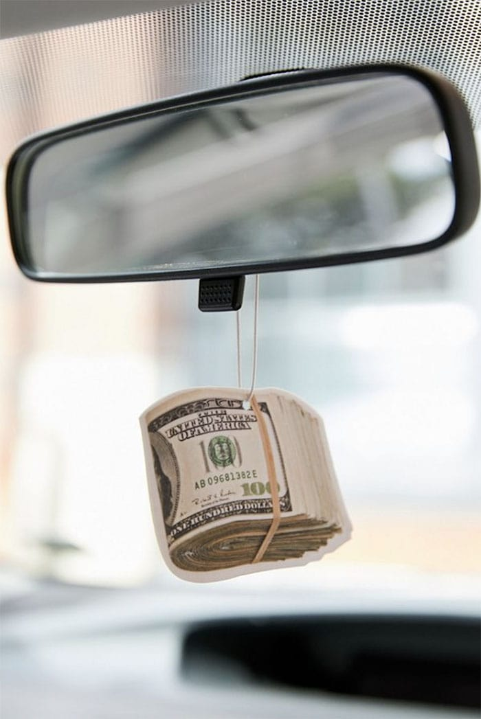 photo of wad of cash air freshener hanging from car mirror funny white elephant gifts