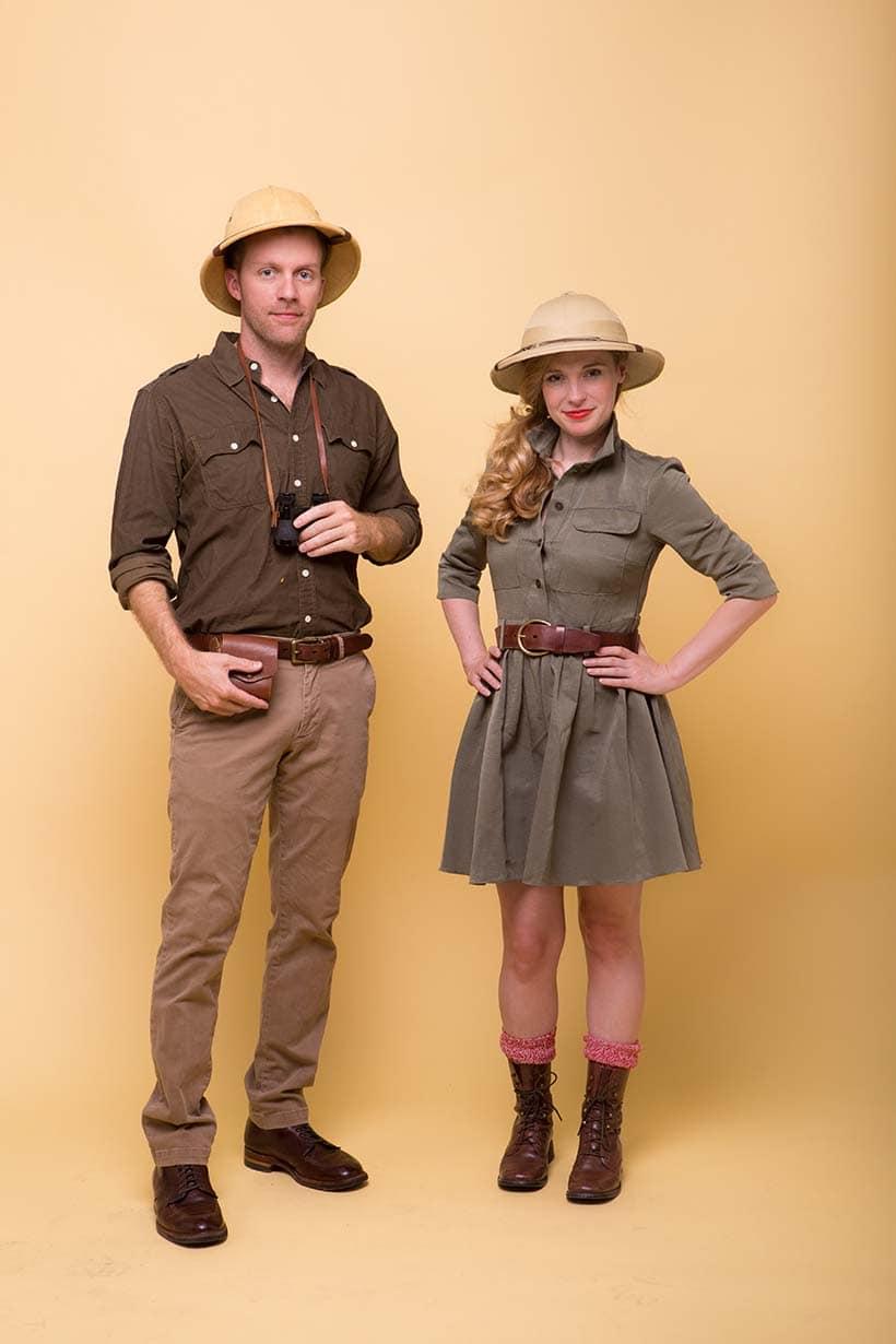 Man and Woman in DIY Couples costume: Safari Couple