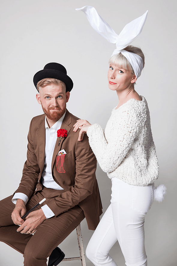 Man and Woman in DIY Couples costume: Magician and white rabbit