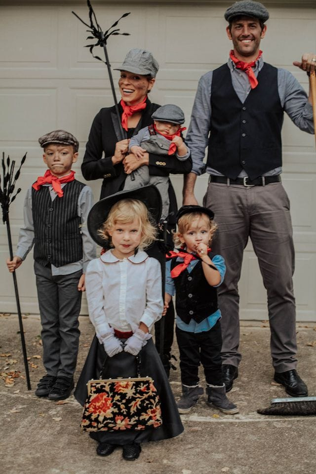 Photo of family dressed in Marry Poppins character Halloween costumes