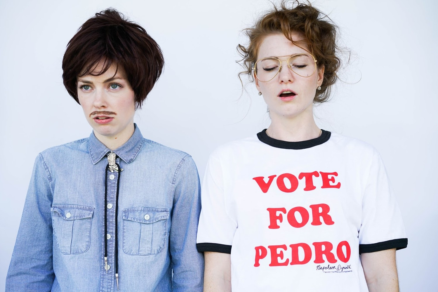 Two women in DIY Couples costume: Pedro and Napoleon Dynamite