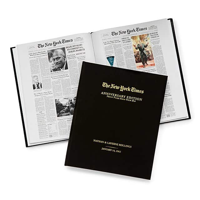 photo of custom anniversary book from the new york times
