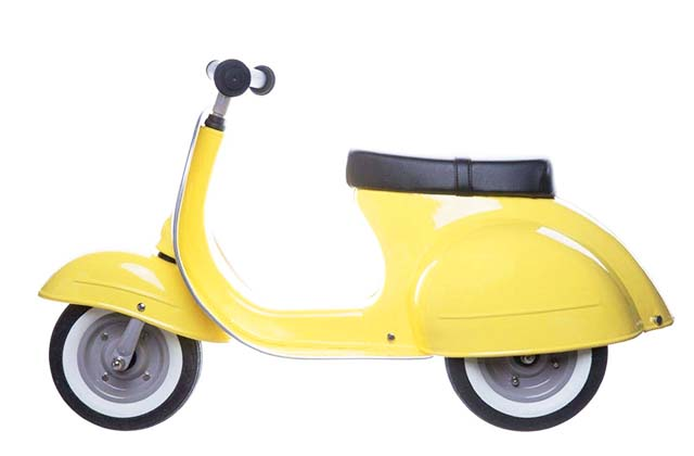 photo of a vespa looking kids scooter for toddlers