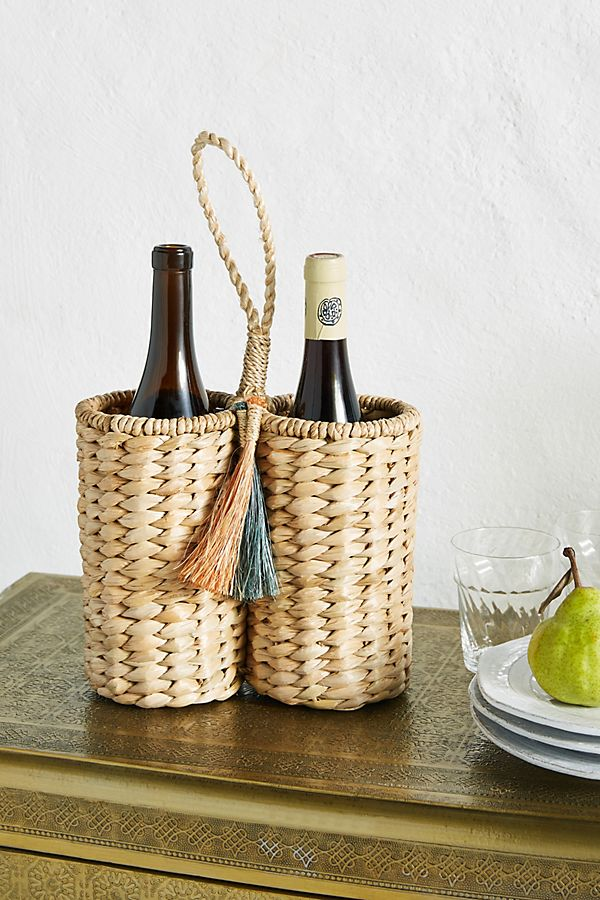 photo of a wine caddy with two bottles of wine