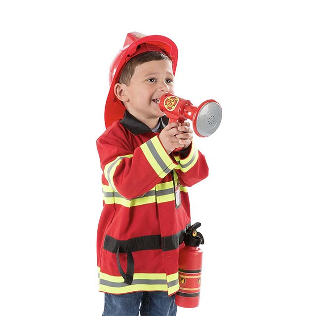 photo of little boy dressed in firefighter costume