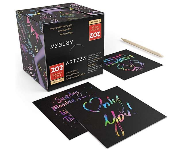 photo of rainbow scratch paper box