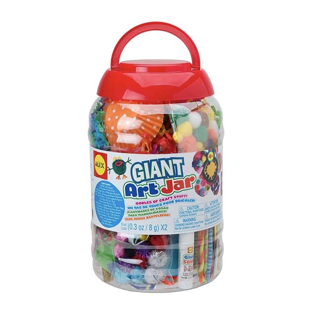 photo of a giant art jar with arts and craft supplies