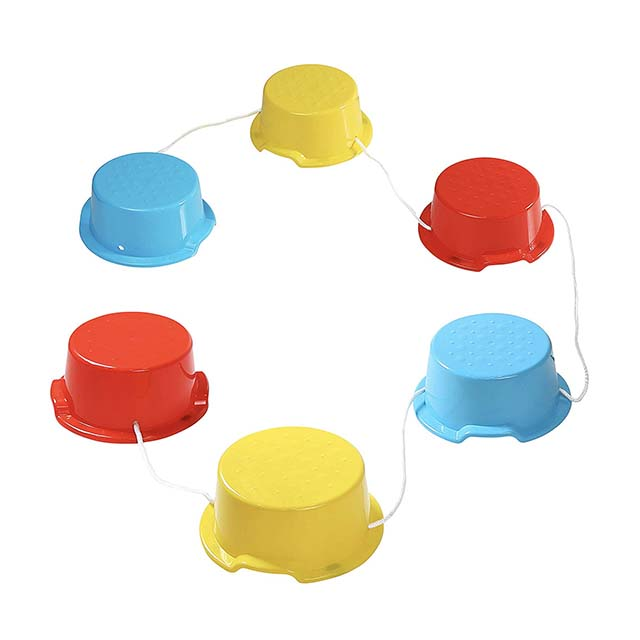 photo of kids balance buckets