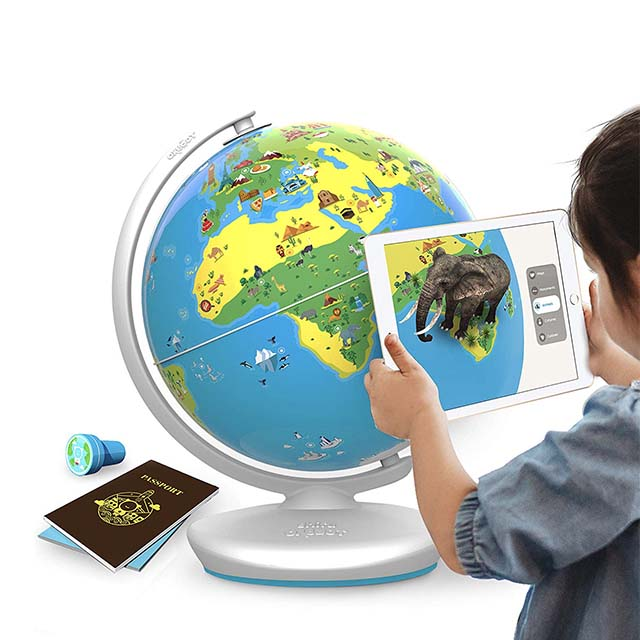 photo of a kid learning with a smart globe