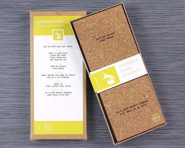 photo of a box of Mistaken Lyrics coaster set