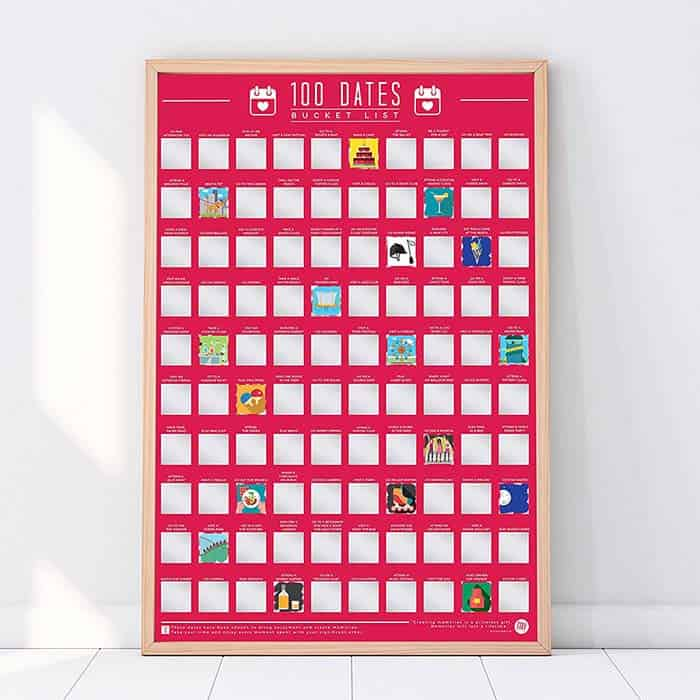 photo of 100 dates scratch off poster