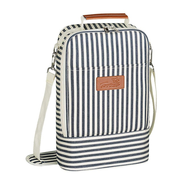 photo of a striped backpack