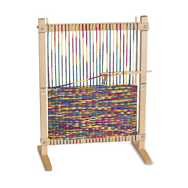 photo of small wooden weaving loom