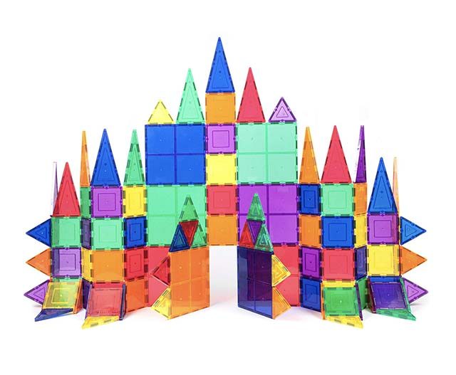 photo of clear magnet building tiles for kids