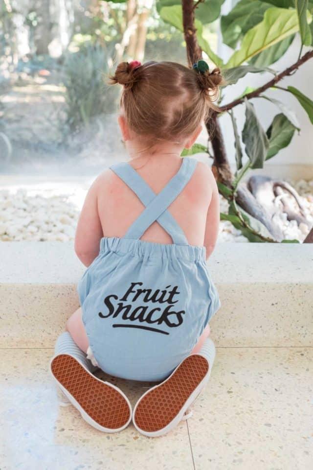 photo of a fruit snacks logo romper