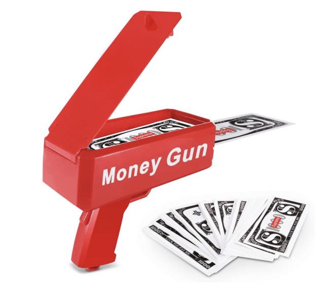toy cash dispensing gun that says 'make it rain' funny white elephant gifts