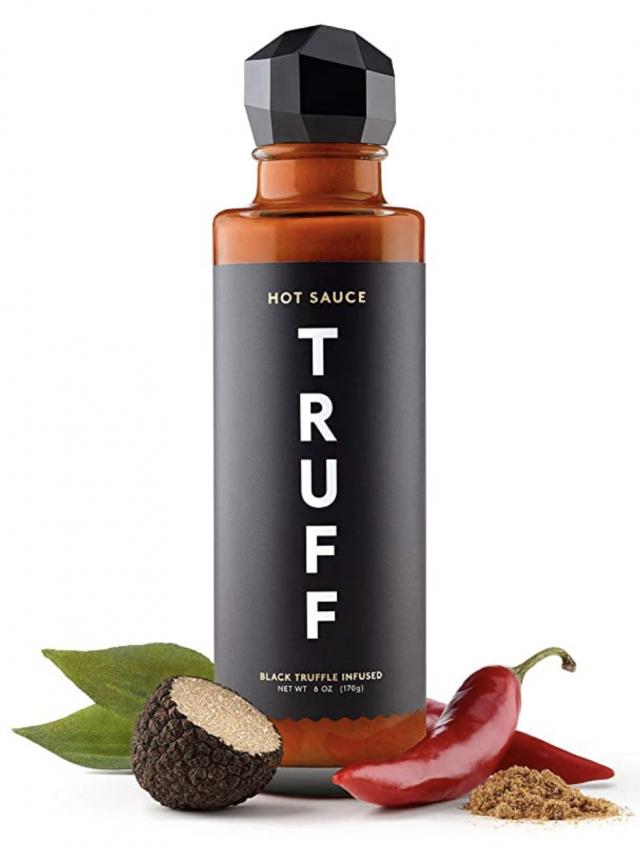 black truffle infused hot sauce bottle with seasonings