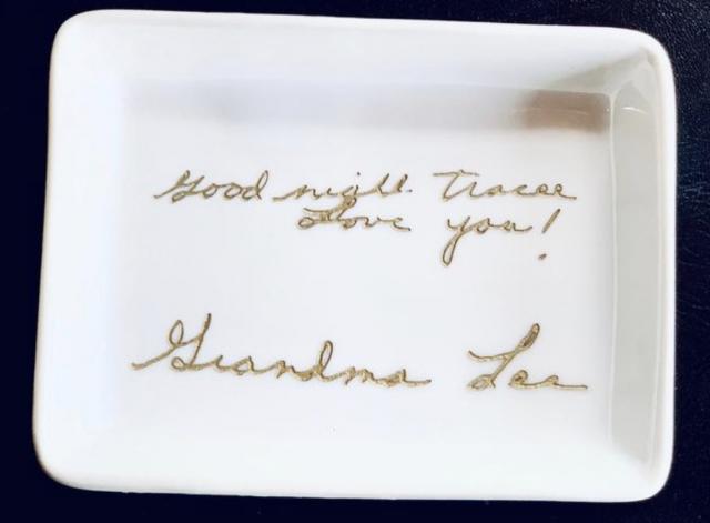 custome handwritten note on a trinket dish