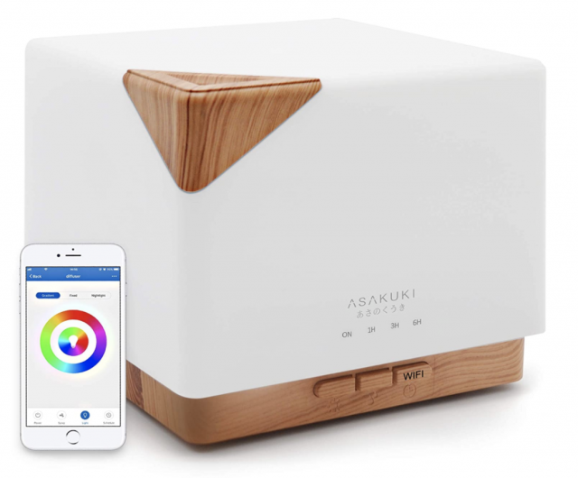 photo of a wood and white modern essential oil diffuser with wifi