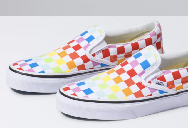 photo of vans girls rainbow slip on shoes