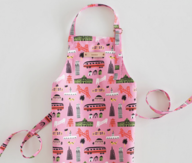 colorful pink kids apron with personalized name for girls
