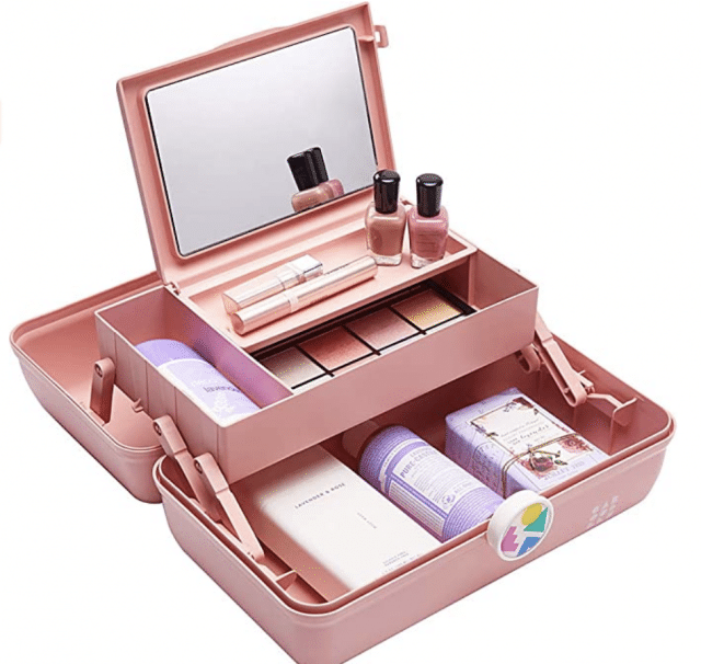a pink caboodle present for girls with makeup inside