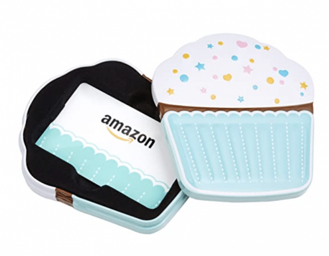 photo of an amazon cupcake gift card for a birthday