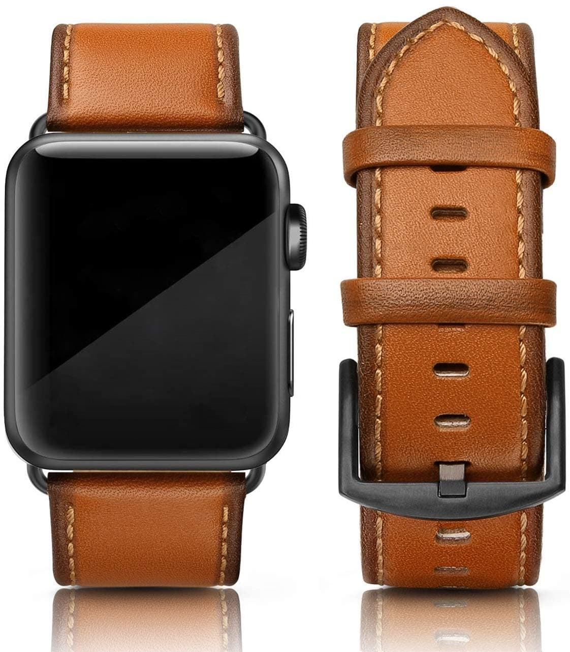 photo of an apple watch with brown leather strap