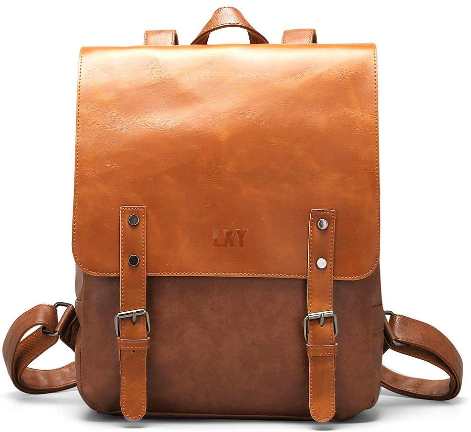 photo of a brown leather backpack