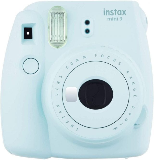photo of light blue instax camera