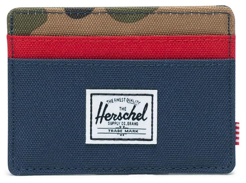 closeup of a Herschel canvas card holder