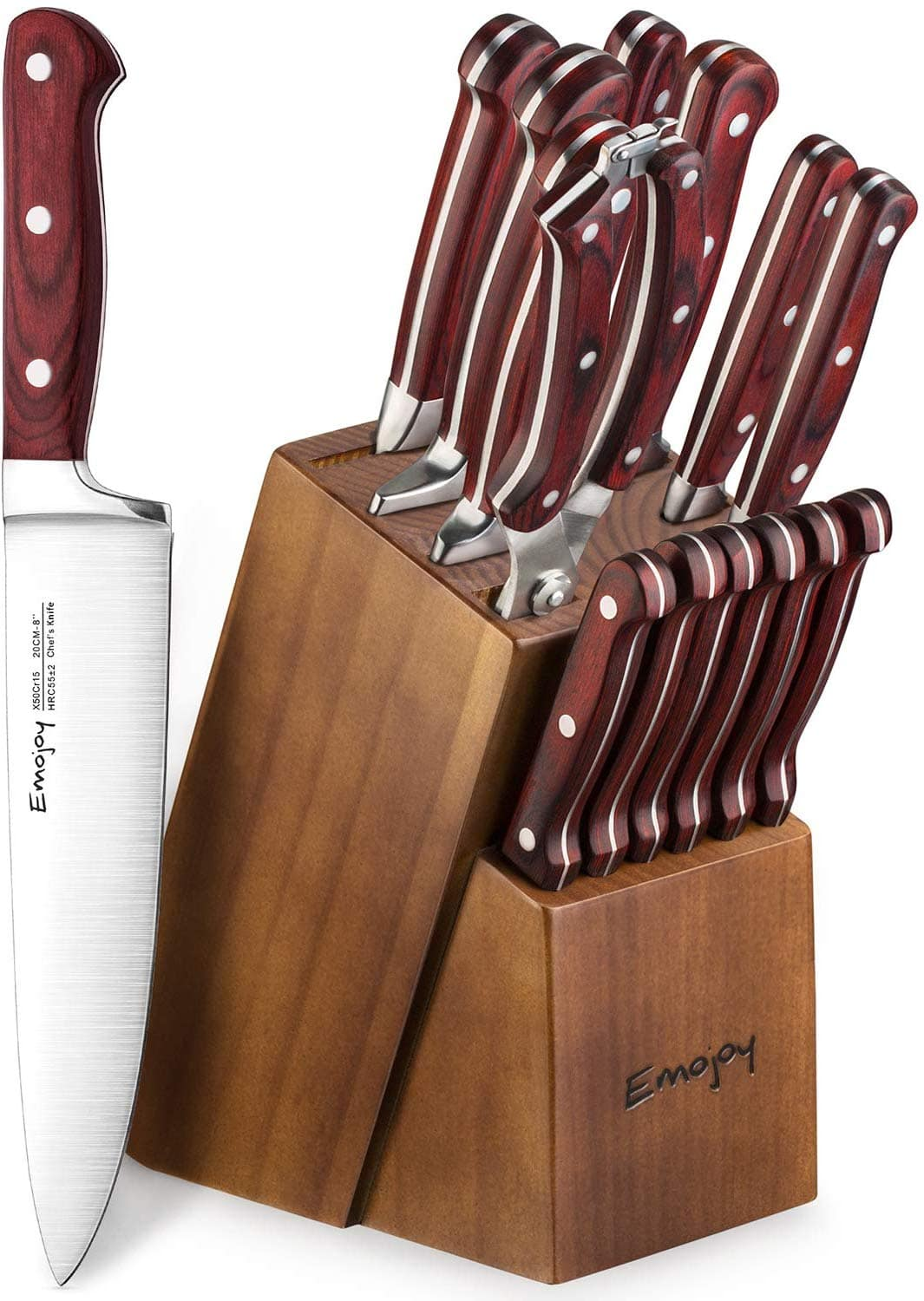 photo of a knife block filled with kitchen knives