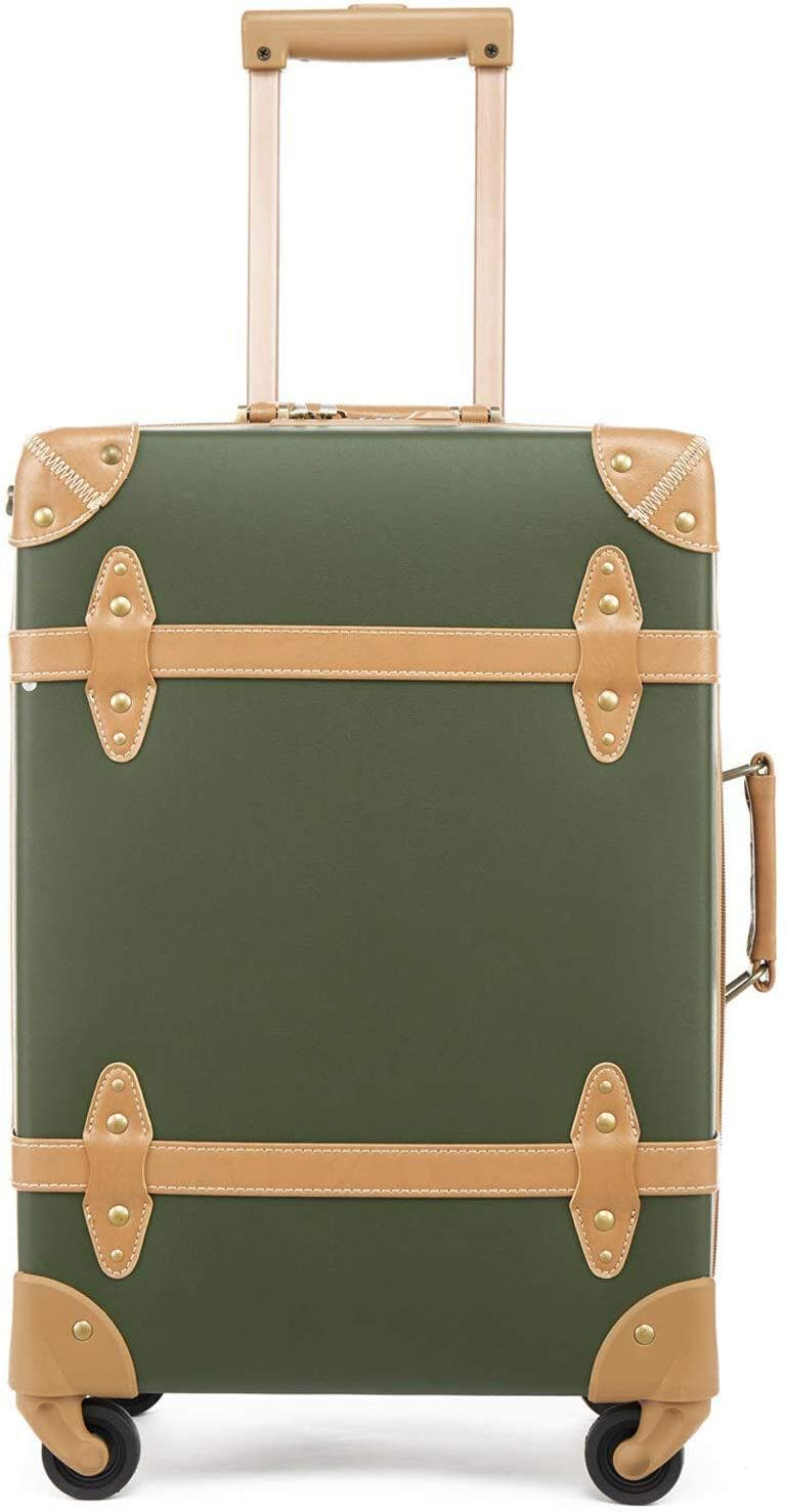 photo of a vintage looking olive carryon luggage