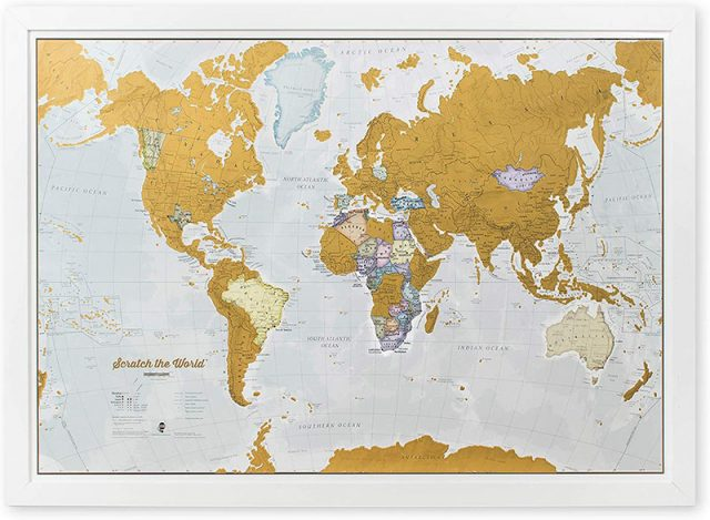photo of a scratch off world map