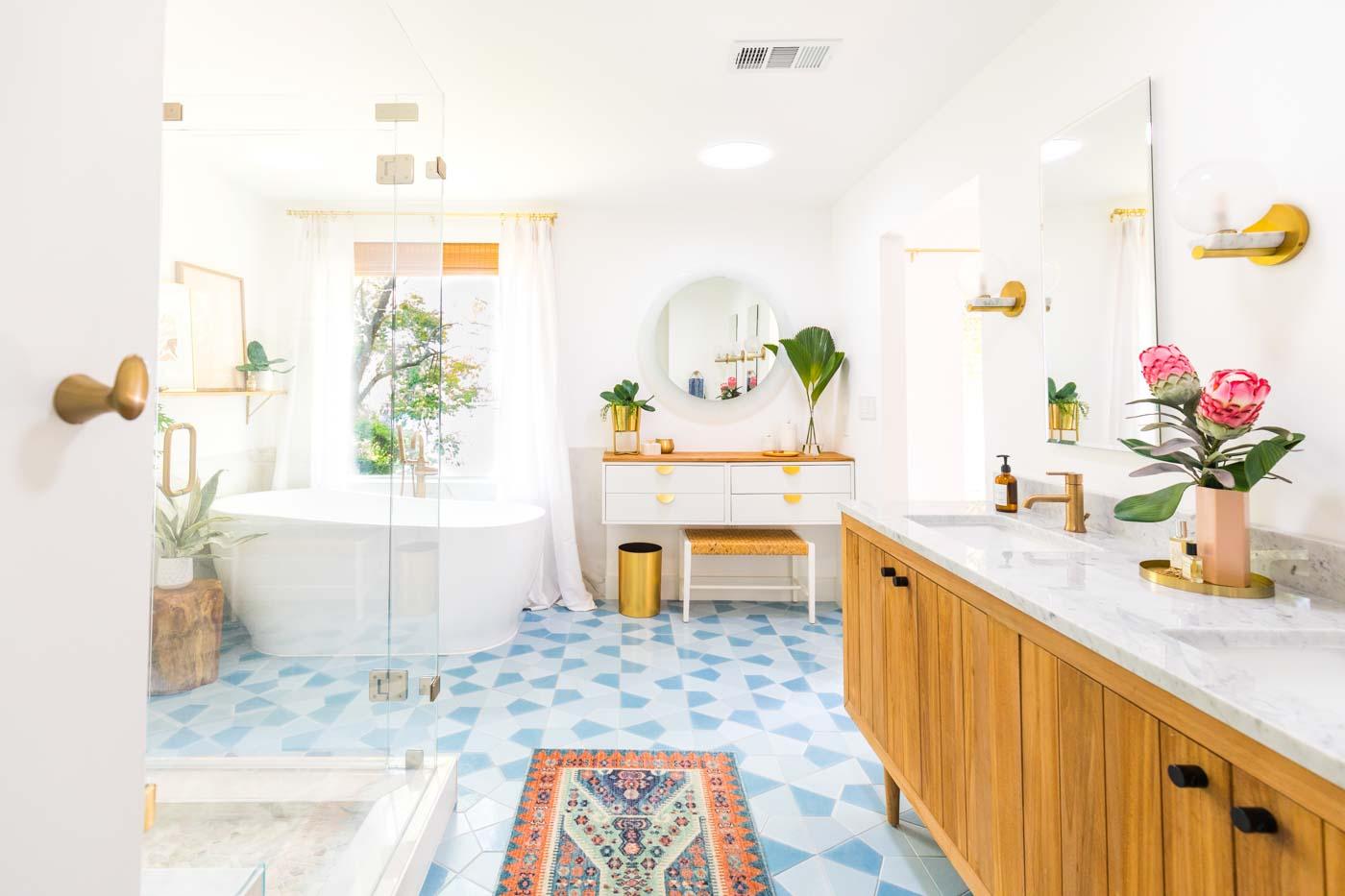 horizontal photo of a master bathroom remodel