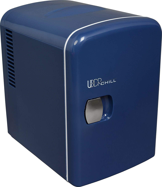 photo of a vintage blue mini fridge
