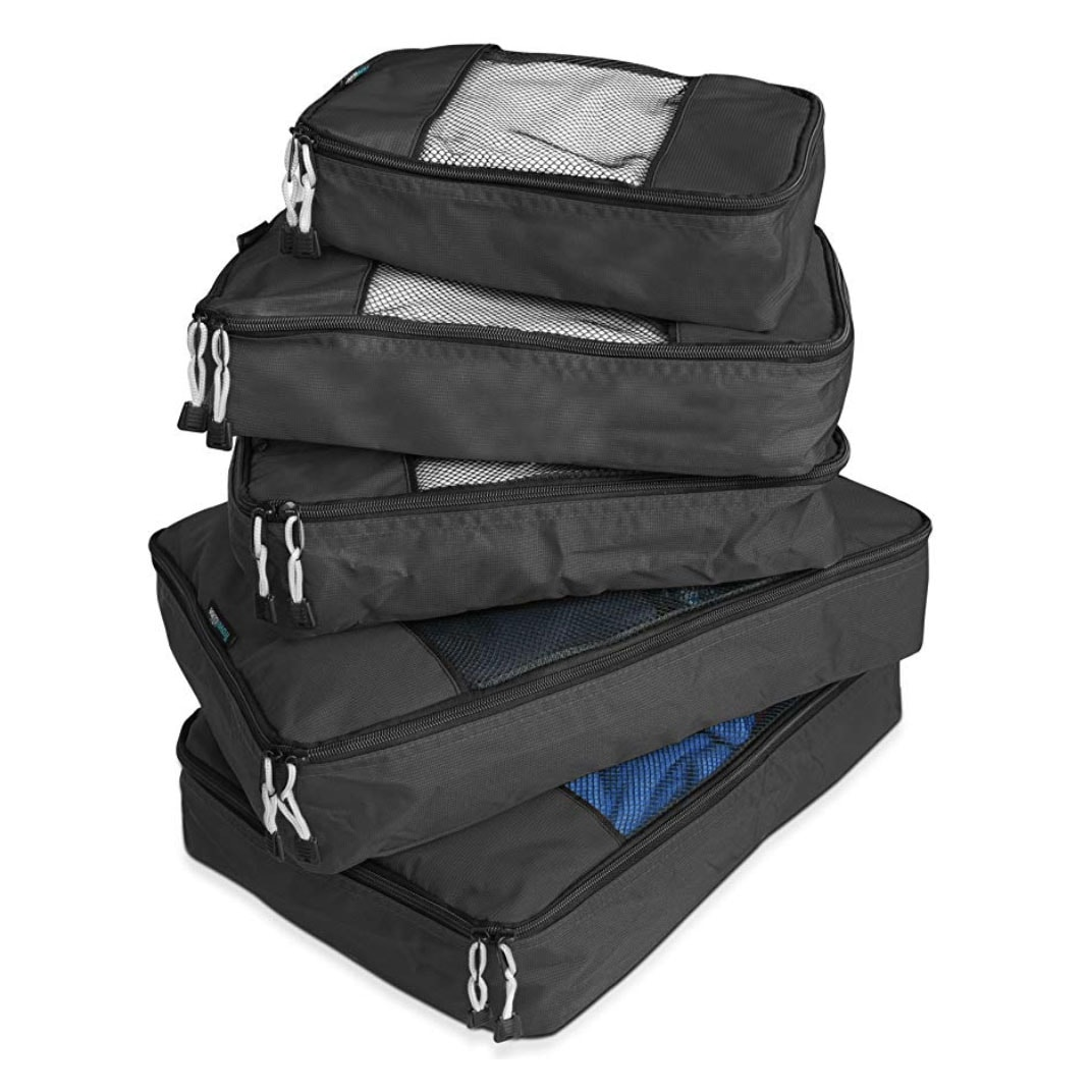 photo of a stack of packing cubes in different sizes