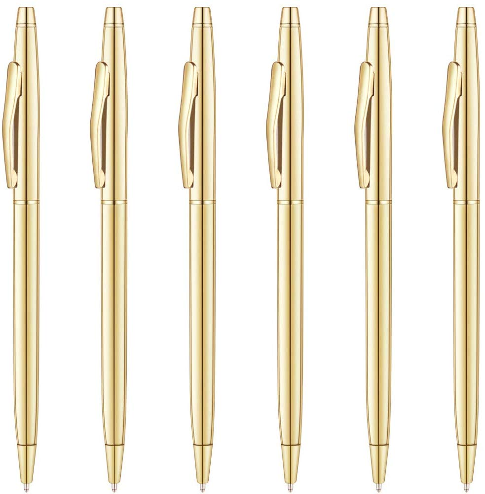 photo of six gold writing pens