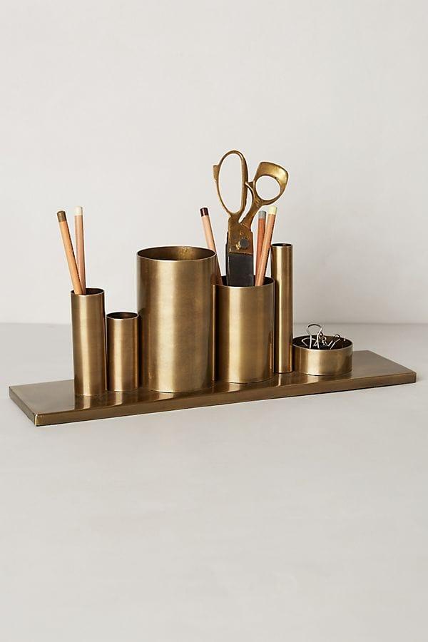 photo og brass pencil holder for desk