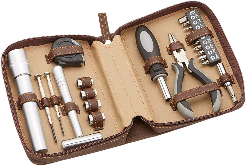 photo of a brown leather zippered tool kit
